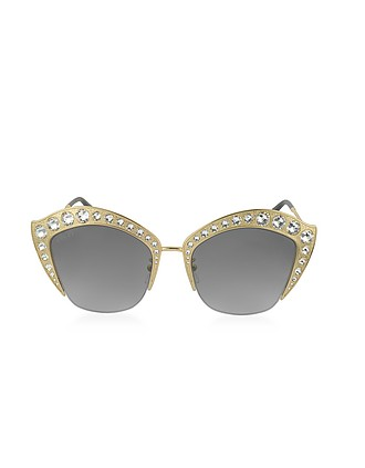 49be3994553 GG0114S Metal Cat Eye Women s Sunglasses w Crystals - Gucci