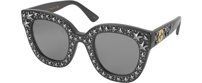 e0b11356c4bfd Gucci Black Gray GG0116S Acetate Cat Eye Women s Sunglasses w Stars feature  star worthy retro at FORZIERI