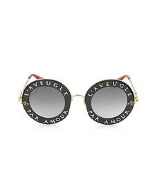 GG0113S Acetate and Gold Metal Round Women's Sunglasses