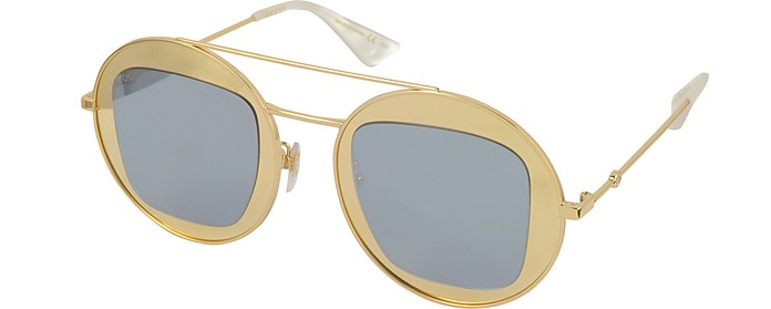 38feef6f5 GG0105S Metal Round Aviator Women's Sunglasses - Gucci. $510.00 Actual  transaction amount