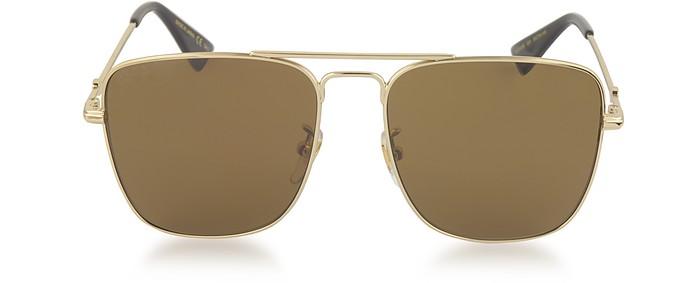 Gg0108s Gold Metal Square Aviator Men S Sunglasses