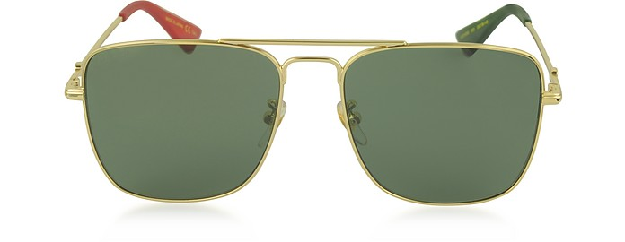 GG0108S Gold Metal Square Aviator Men's Sunglasses - Gucci