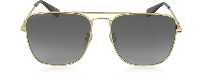 76790153265 GG0108S 006 Gold Metal Square Aviator Men s Polarized Sunglasses - Gucci