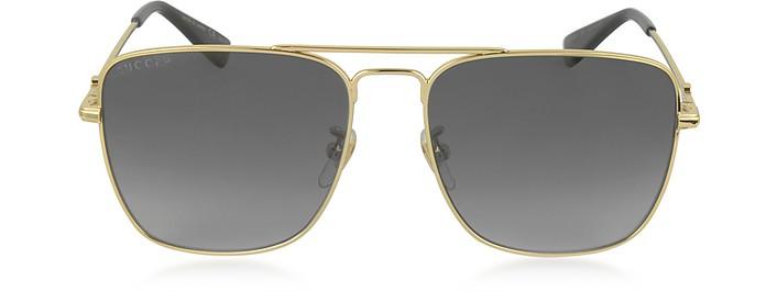 e161f8a8d67 GG0108S 006 Gold Metal Square Aviator Men s Polarized Sunglasses - Gucci