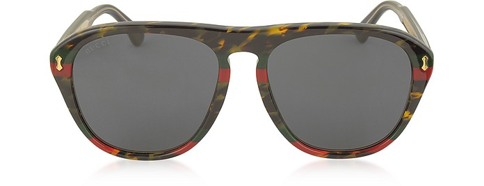 GG0128S 003 Havana and Red/Green Acetate Aviator Men's Sunglasses - Gucci