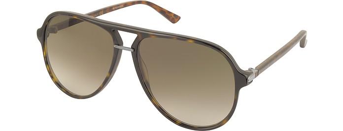 ed67049dd76 Gucci havana brown GG0015S Acetate Aviator Men s Sunglasses at FORZIERI
