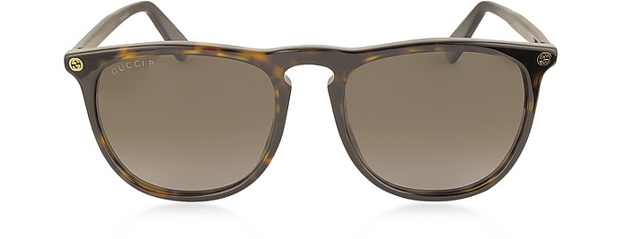 GG0120S 006 Havana Acetate Rounded Square Men's Polarized Sunglasses - Gucci
