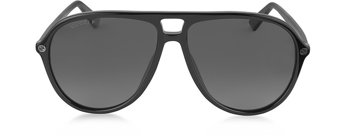 GG0119S 006 Black Acetate Aviator Men's Polarized Sunglasses - Gucci