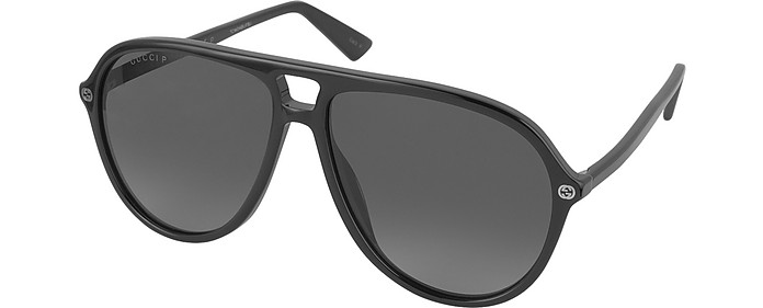 cd90d28d9e GG0119S 006 Black Acetate Aviator Men s Polarized Sunglasses - Gucci. Sold  Out