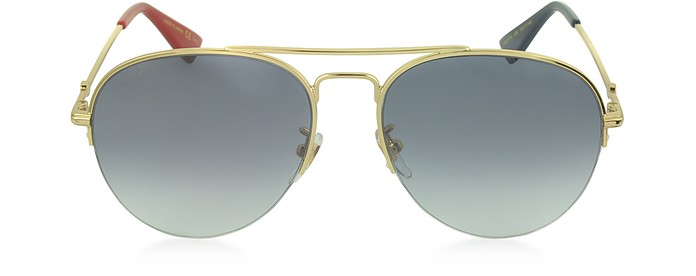 GG0107S Metal Aviator Men's Sunglasses - Gucci