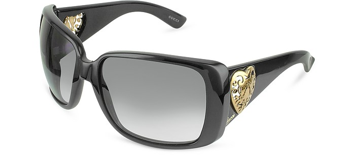 Heart-shaped Crest Sunglasses - Gucci