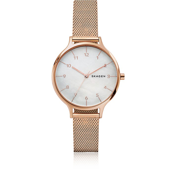 Anita Mother of Pearl Rose-Tone Steel-Mesh Watch - Skagen