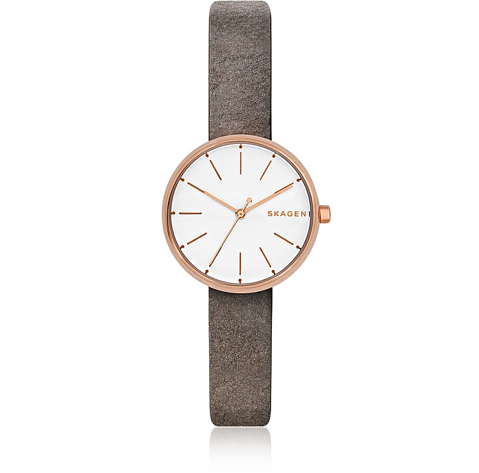 Signatur Gray Leather Women's Watch - Skagen