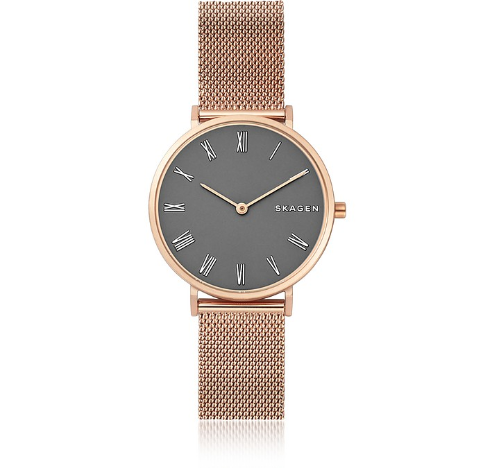 Hald Gray Dial and Rose Gold Steel-Mesh Women's Watch - Skagen