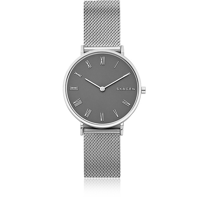 Hald Gray Dial and Silver Tone Steel Mesh Women's Watch  - Skagen