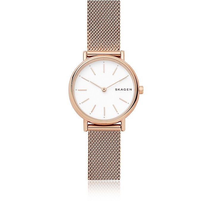 80996e90e3db Skagen Signatur Slim Rose Gold-Tone Steel-Mesh Watch at FORZIERI
