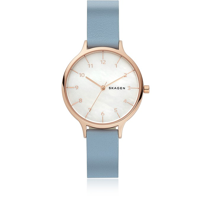 Anita Mother of Pearl Blue Leather Women's Watch - Skagen