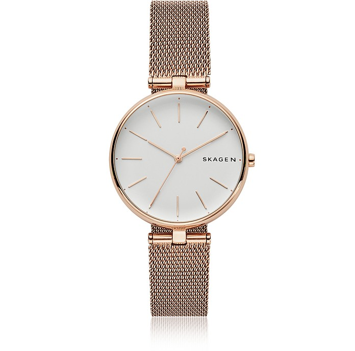 Signatur T-Bar Rose-Tone Steel-Mesh Women's Watch - Skagen