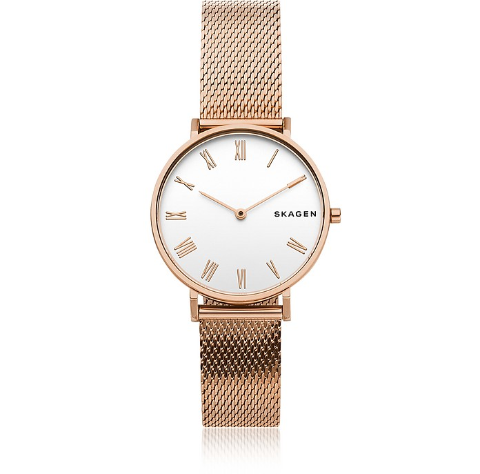 Hald Rose-Tone Silk-Mesh Women's Watch - Skagen