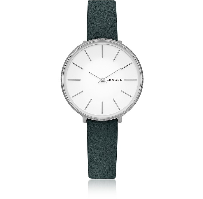 Karolina Green Leather Women's Watch - Skagen