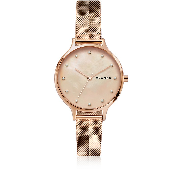 Anita Mother of Pearl Rose-Tone Mesh Watch - Skagen