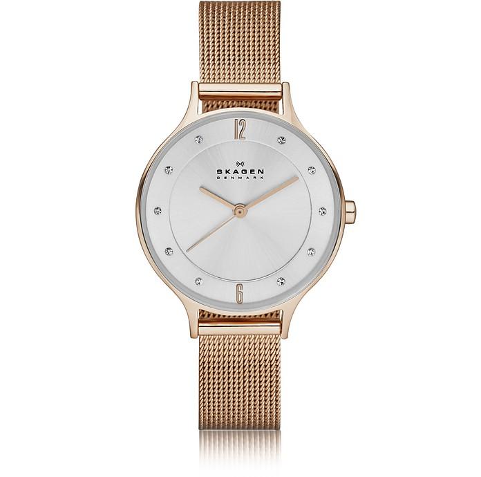 SKAGEN Women'S Anita Rose Gold-Tone Stainless Steel Mesh Bracelet Watch 30Mm Skw2151