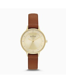 Anita Round Case Saddle Leather Strap Women's Watch - Skagen
