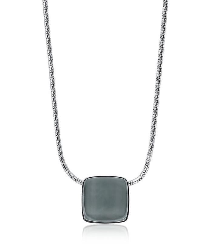 Sea Glass Square Silver Tone Necklace - Skagen