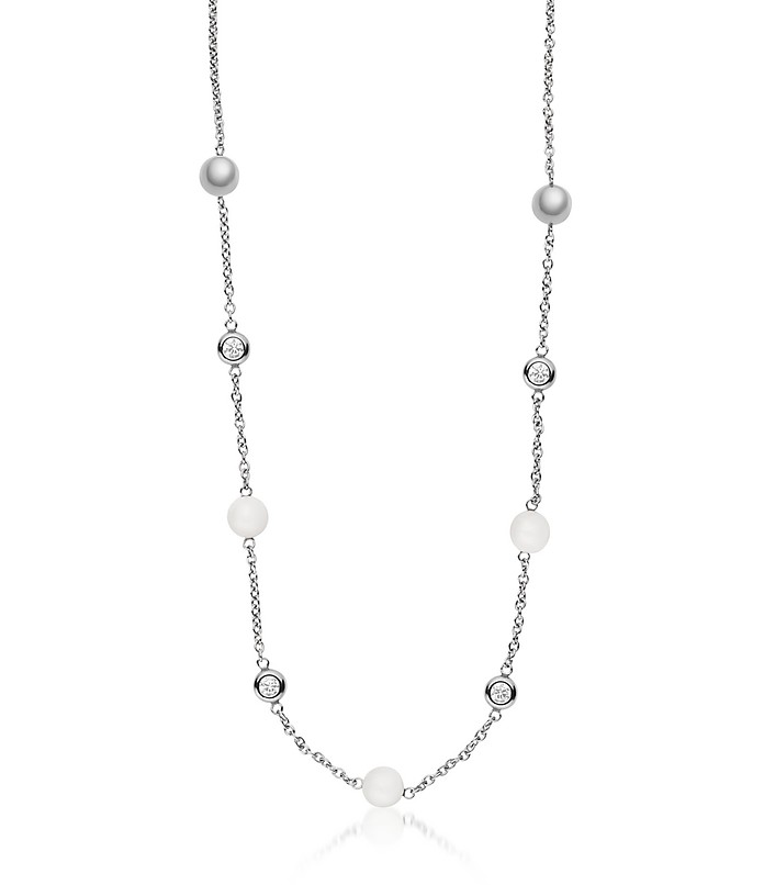 Sea Glass Silver Tone Short Station Necklace - Skagen