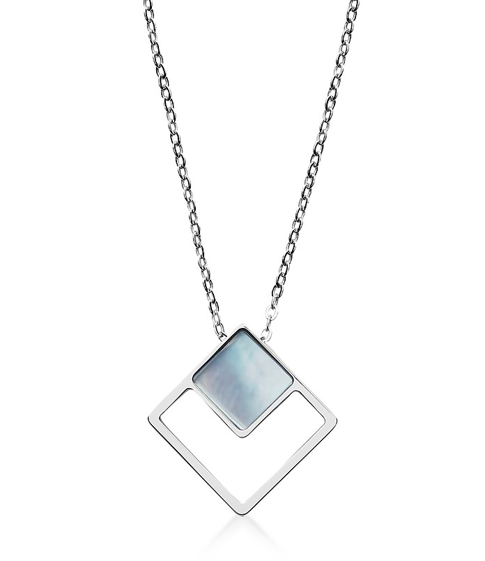 Agnethe Silver Tone and Mother of Pearl Pendant Necklace - Skagen