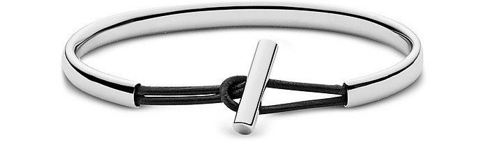 Anette Stainless Steel and Leather Bangle Bracelet - Skagen