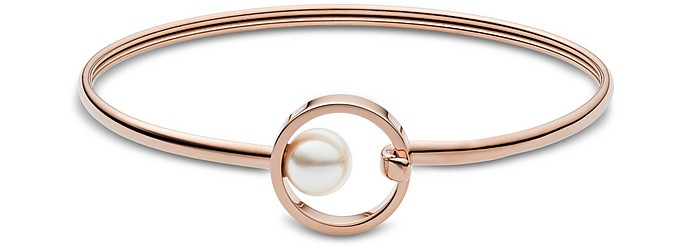 Agnethe Rose Gold-Tone Pearl Bangle - Skagen