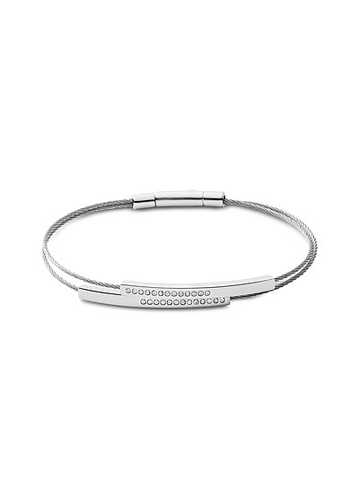 Elin Silver Tone and Crystal Cable Bracelet - Skagen