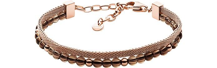 Anette Smoky Quartz Beads And Mesh Bracelet - Skagen