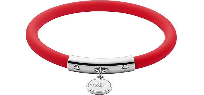 Blakely Red Silicone and Silver Tone Bracelet - Skagen / スカーゲン