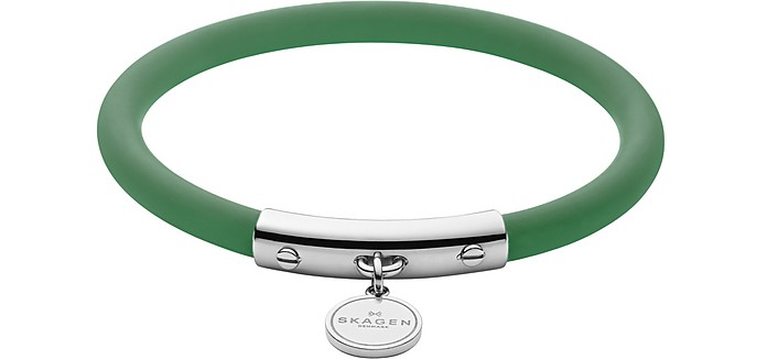 Skagen BLAKELY GREEN SILICONE AND SILVER TONE BRACELET
