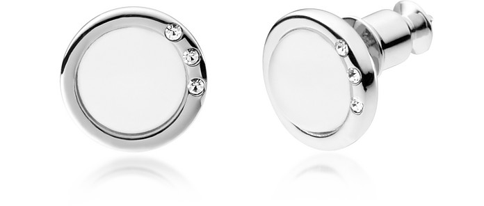 Sea Glass and Stainless Steel Women's Earrings w/Crystals - Skagen