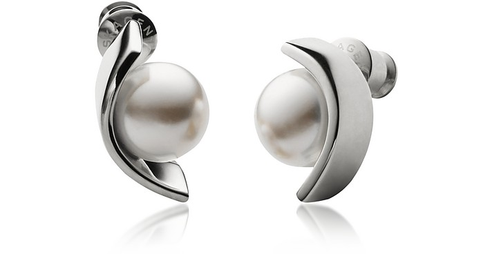 Glass Pearls and Stainless Steel Agnethe Women's Earrings - Skagen