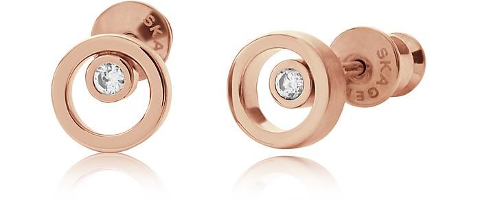 Elin Rose Gold-Tone Crystal Circle Earrings - Skagen