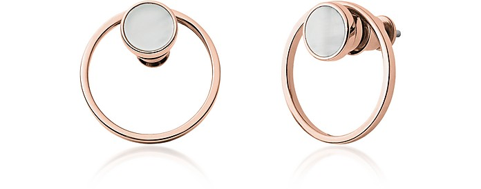 Agnethe Rose Gold-Tone Mother-of-Pearl Earrings - Skagen