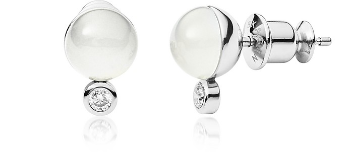 Sea Glass and Crystal Silver-Tone Stud Earrings - Skagen
