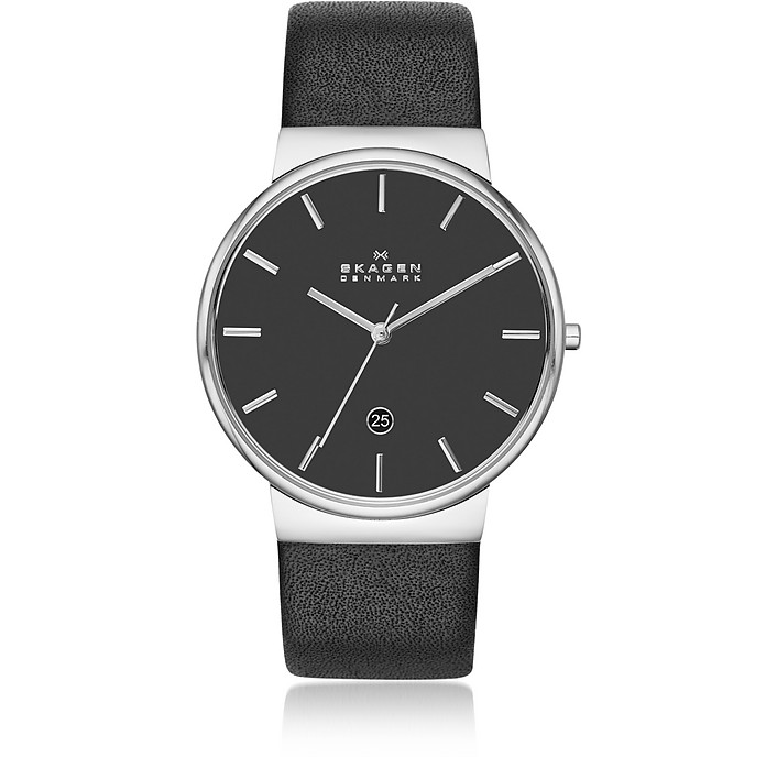 Ancher Black Leather Men's Watch - Skagen