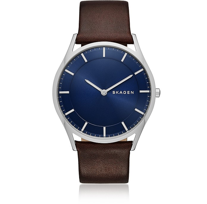Holst Slim Dark Brown Leather Men's Watch - Skagen