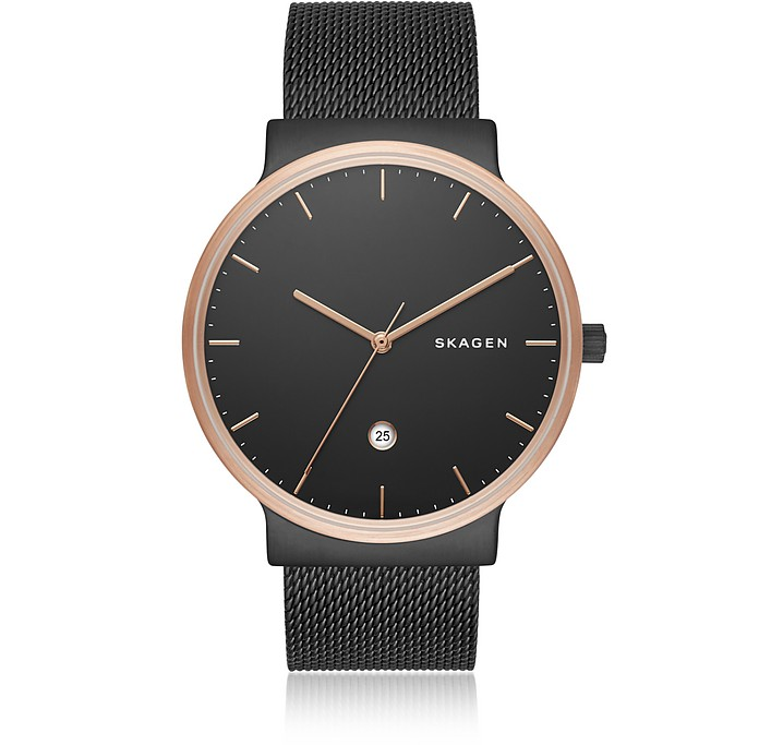 Ancher Black Steel-Mesh Men's Watch - Skagen