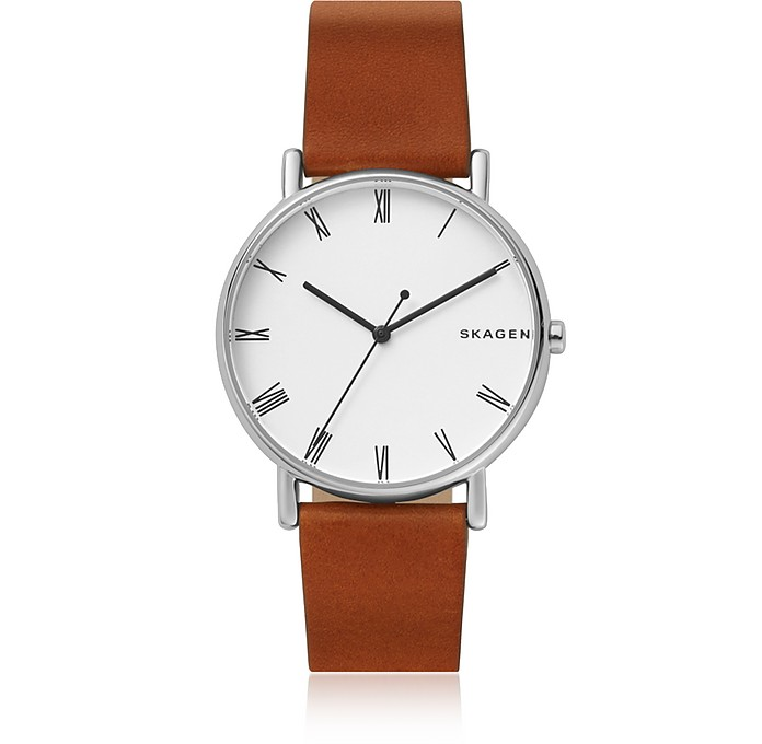 Signatur Steel and Brown Leather Men's Watch - Skagen