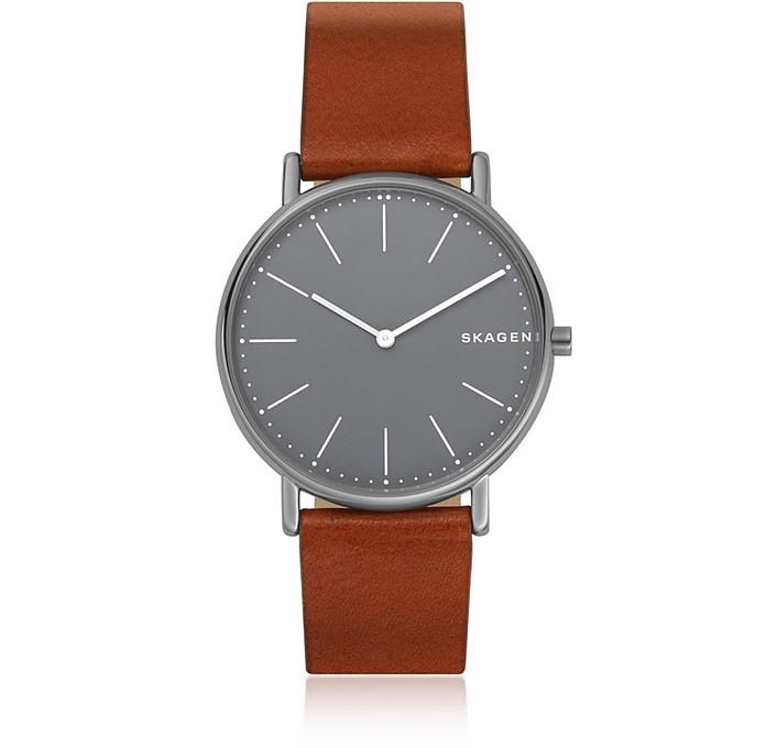 Signatur Slim Titanium and Cognac Leather Men's Watch - Skagen