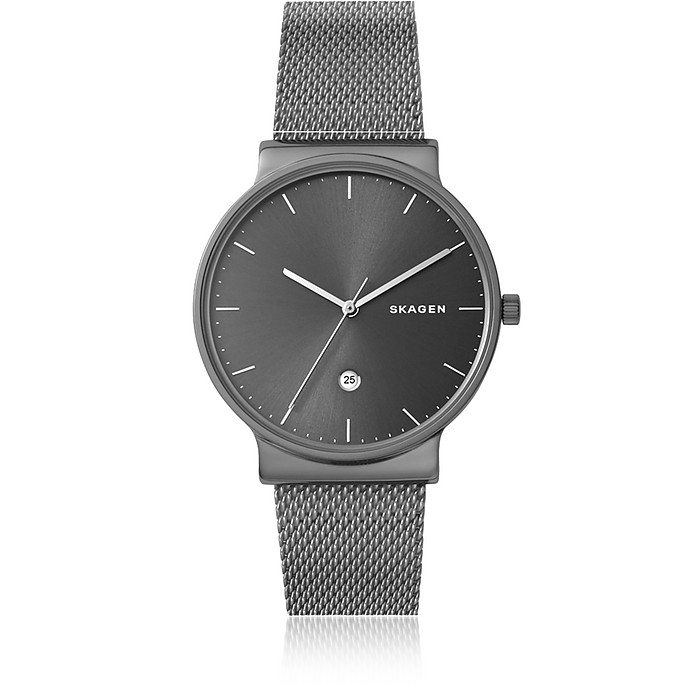 Ancher Titanium and Grey Sunray Dial Men's Watch - Skagen