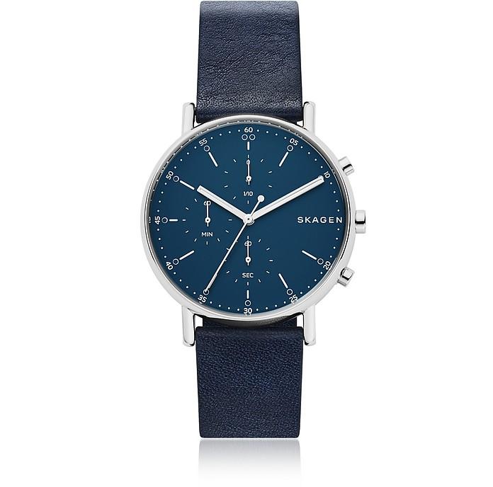 Signatur Navy Blue Leather Men's Chronograph Watch - Skagen