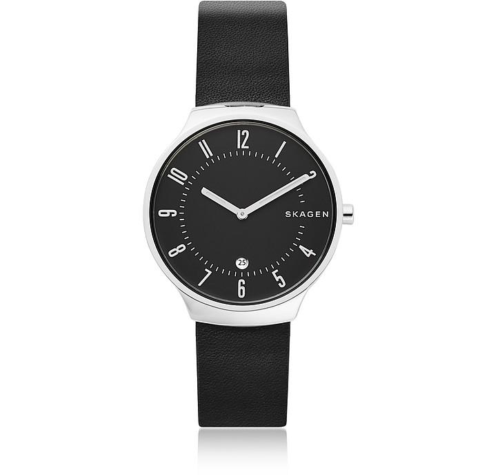Grenen Black Leather Men's Watch  - Skagen