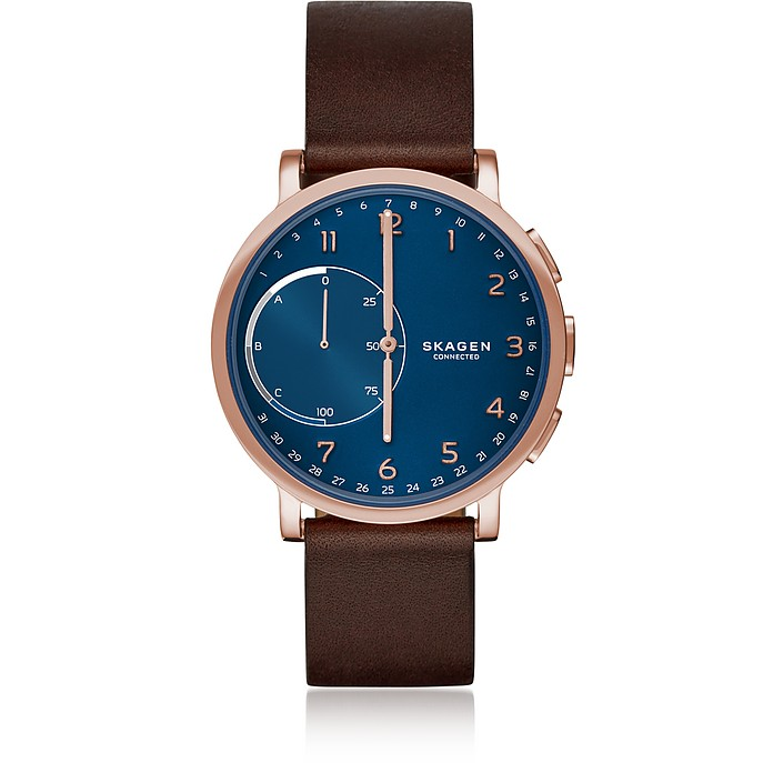Hagen Hybrid Dark Brown Leather Men's Smartwatch - Skagen